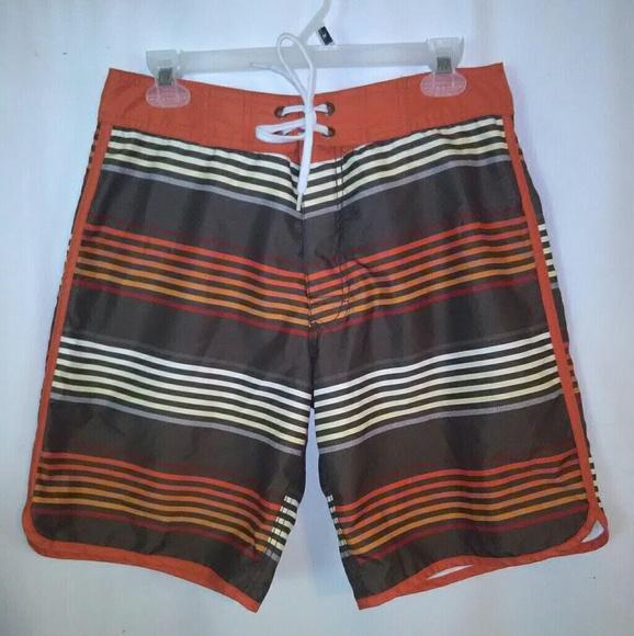 33b9a83f56 Old Navy Swim | Mens Orange Striped Board Shortsbathing | Poshmark